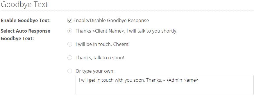 goodbye response